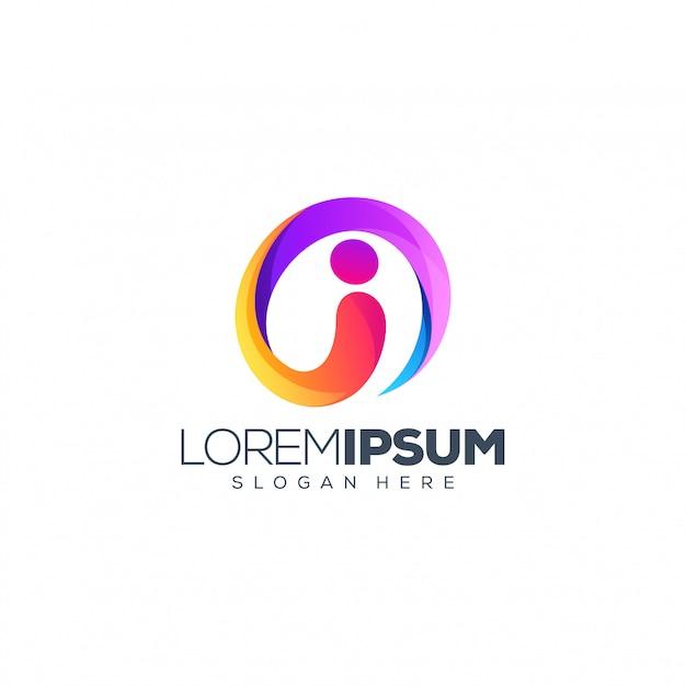 Письмо я дизайн логотипа векторная иллюстрация Premium векторы