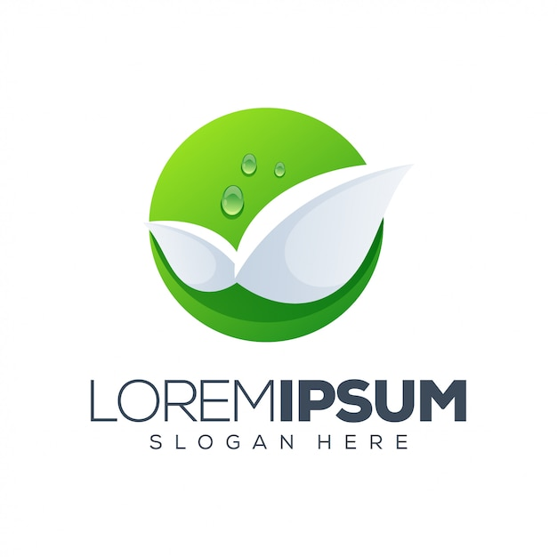 リーフのロゴのテンプレート Premiumベクター