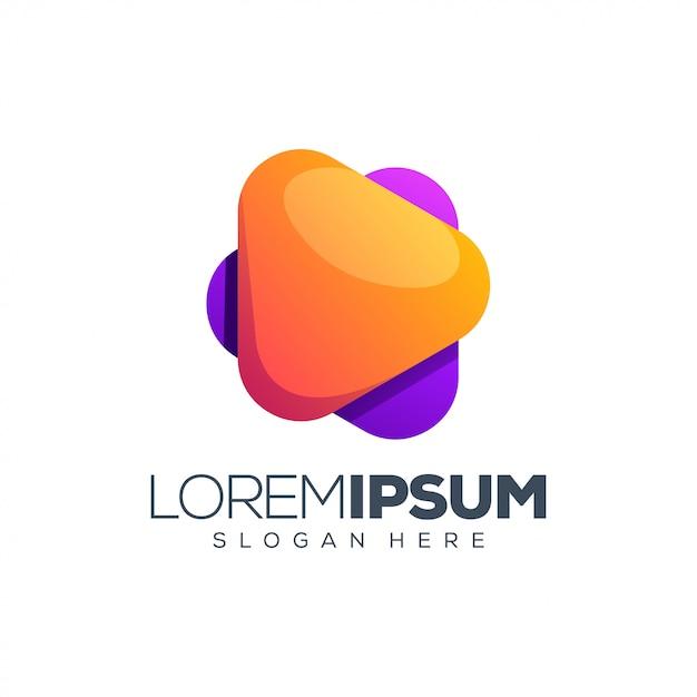 ロゴデザインのベクトル図を再生します。 Premiumベクター