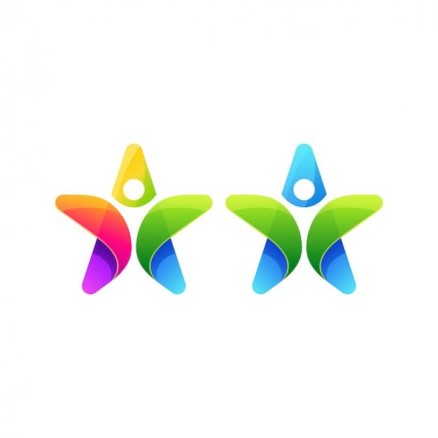 人々の星のロゴの設計 Premiumベクター