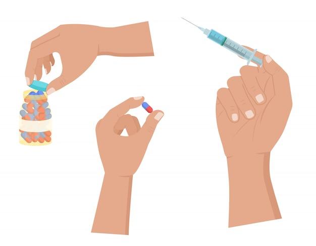 Рука держит таблетки и шприц, открытые таблетки значок бутылки на белом Premium векторы