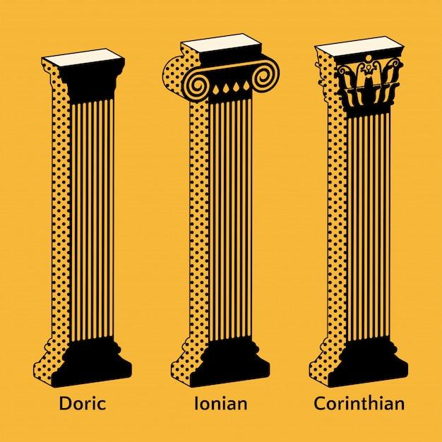 Набор изометрических икон античных греческих колонн в стиле ретро Premium векторы