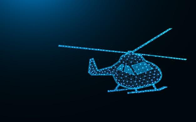 Низкополигональная конструкция вертолета, абстрактное геометрическое изображение воздушного транспорта, векторная иллюстрация каркасной сетки вертолета из точек и линий Premium векторы