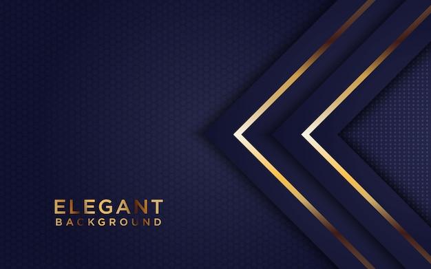 重なったレイヤーと光る暗い抽象的な背景。黄金の効果要素の装飾を持つテクスチャー Premiumベクター