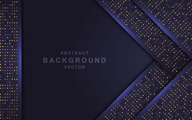Темный абстрактный фон с слоями перекрытия и золотыми блестками. Premium векторы