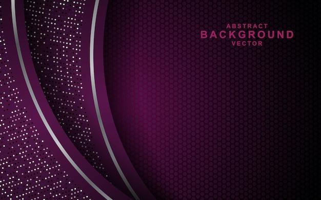 Темный абстрактный фон с фиолетовыми слоями перекрытия и блестит. текстура с отделкой серебряным эффектом Premium векторы