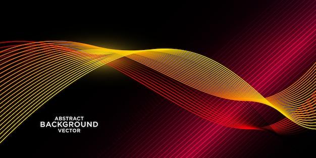 赤い光と抽象的な黄色波背景 Premiumベクター