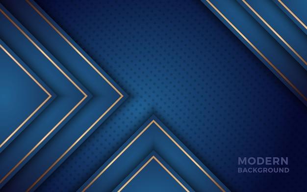 黄金の効果で現実的な青色の背景。 Premiumベクター