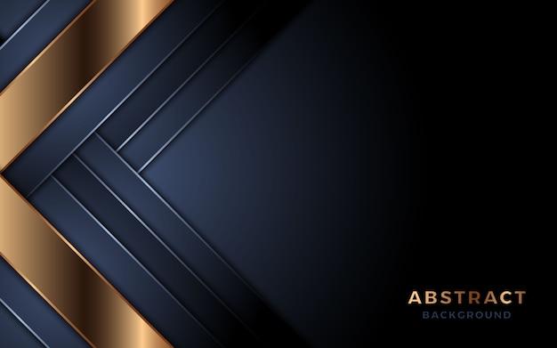 金色の線の組み合わせで豪華な暗い海軍背景。プレミアムベクトル Premiumベクター