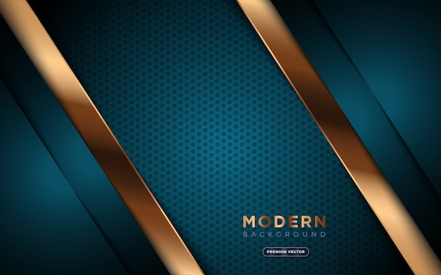 黄金の抽象的な形と六角形の質感を持つ豪華な背景。 Premiumベクター