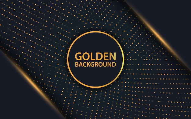 Роскошный черный слой перекрытия и золотой фон блестит Premium векторы