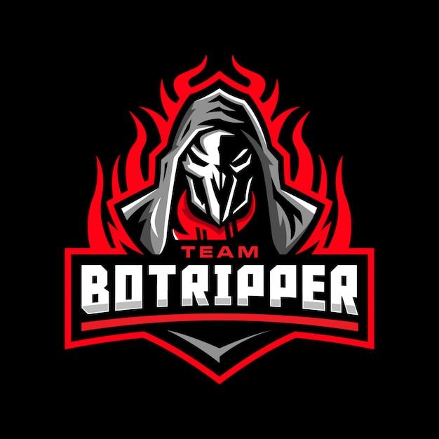 死神のマスコットのロゴ Premiumベクター