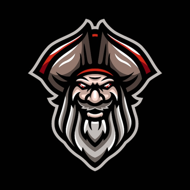 Пиратский талисман логотип Premium векторы