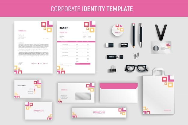 モダンなピンクのプロのビジネス文具セット Premiumベクター