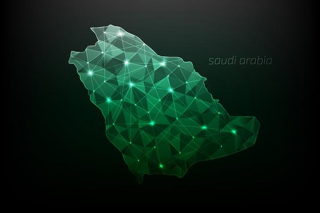 白熱灯と線で多角形のサウジアラビア地図 Premiumベクター