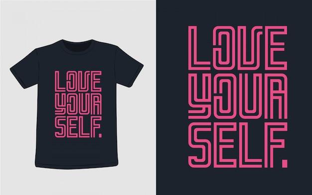 Люблю свою типографику для дизайна футболки Premium векторы