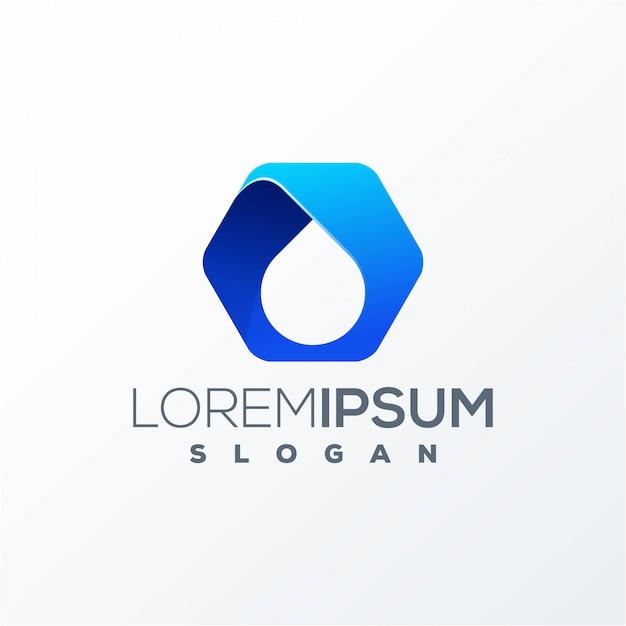 Готовый к использованию дизайн логотипа с шестигранной водой Premium векторы