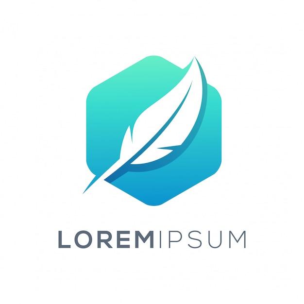 Перо дизайн логотипа Premium векторы
