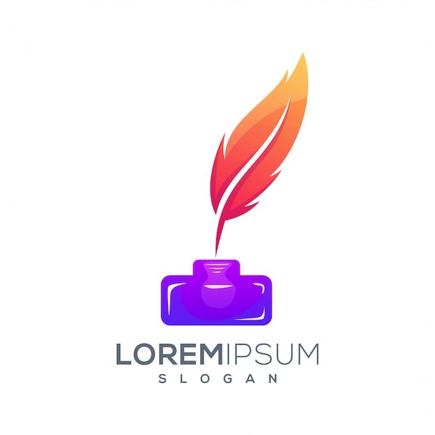 Красочный дизайн логотипа чернила перо Premium векторы
