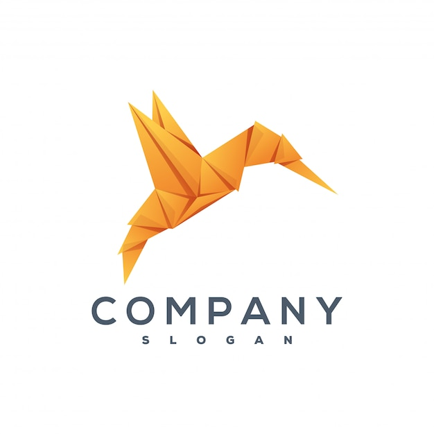 鳥の折り紙スタイルのロゴ Premiumベクター