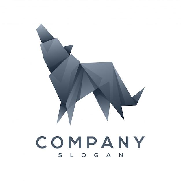 犬折り紙スタイルのロゴのベクトル Premiumベクター