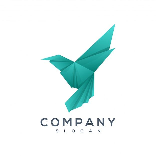 鳥の折り紙スタイルのロゴのベクトル Premiumベクター