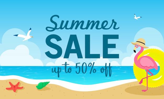 Летняя распродажа векторная иллюстрация Premium векторы
