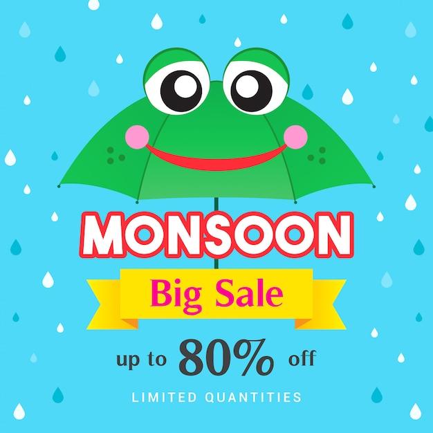 Муссон большая распродажа шаблонов. зеленая лягушка зонтик и капли дождя Premium векторы