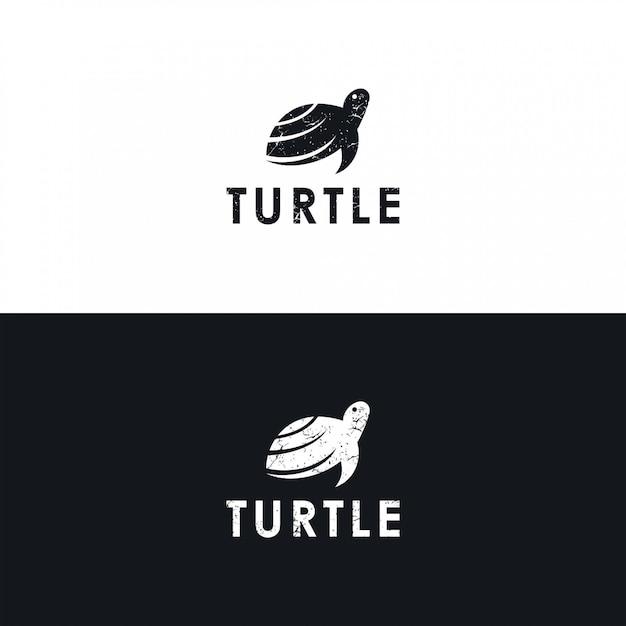 Минималистичный логотип черепаха Premium векторы