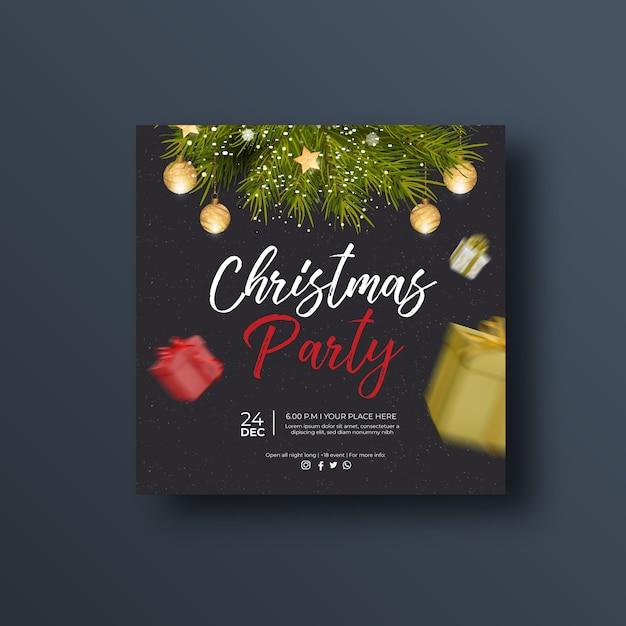 Рождественская вечеринка баннер в социальных сетях или квадратный флаер Premium векторы