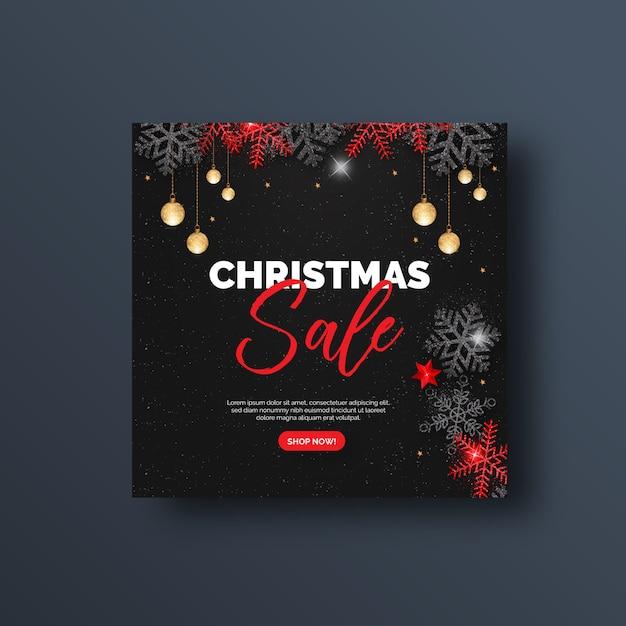 Рождественская распродажа баннер в социальных сетях или квадратный флаер Premium векторы