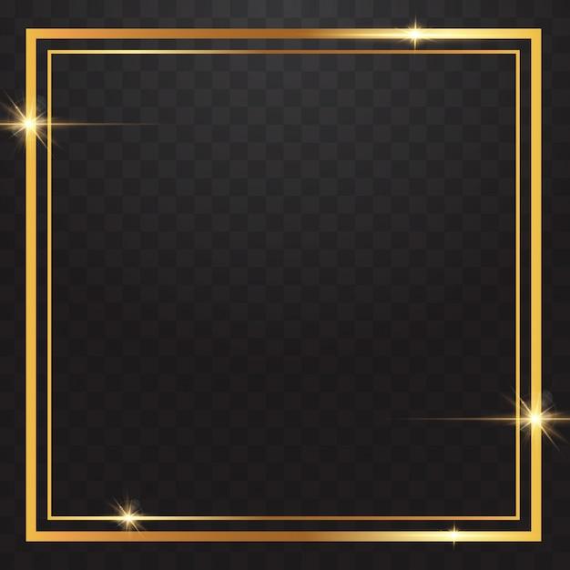 透明な背景のゴールドフレームライト Premiumベクター