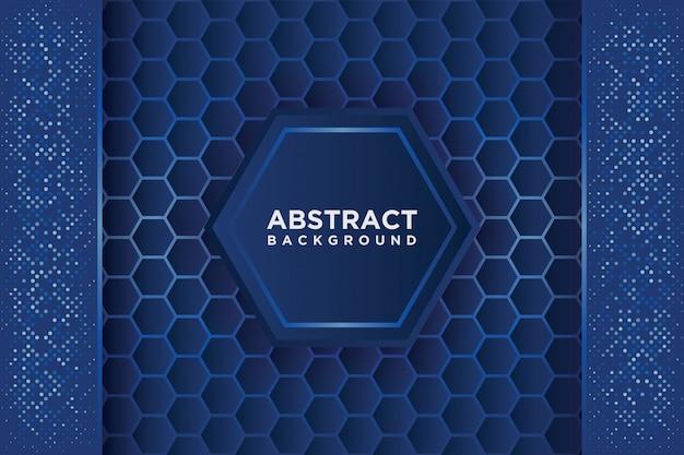 Абстрактная картина шестиугольника с голубым перекрытием. Premium векторы