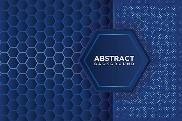 青いオーバーラップを持つ抽象的な六角形パターン。 Premiumベクター