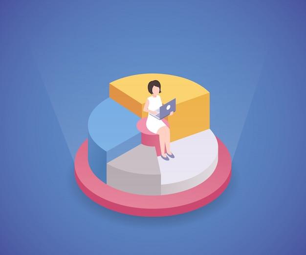 ラップトップのアイソメ図で働く女性 Premiumベクター