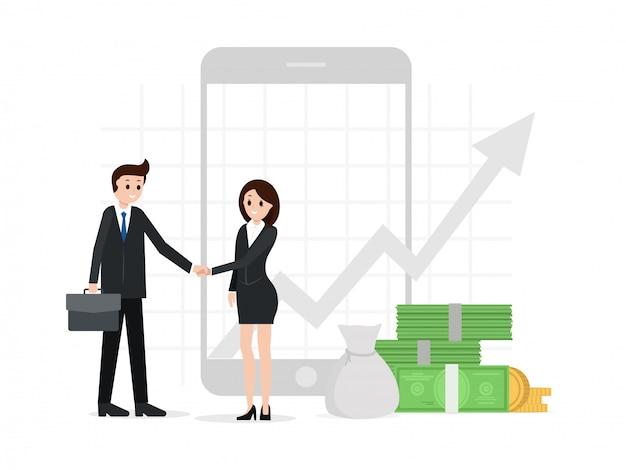 Два деловых партнера пожимают друг другу руки Premium векторы