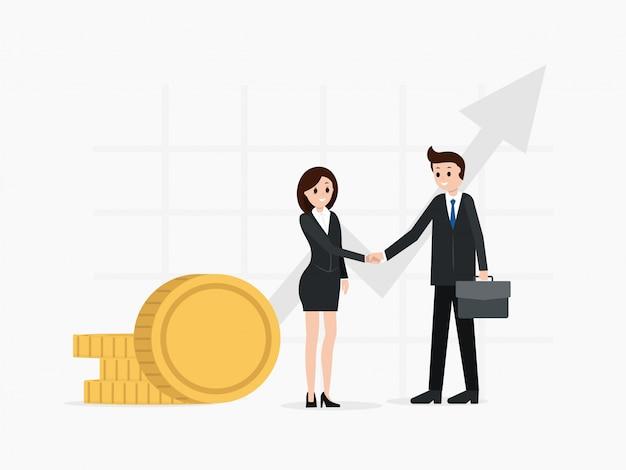 Два деловых партнера достигли соглашения, пожимая друг другу руки. Premium векторы