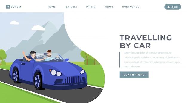 Автомобиль путешествия целевую страницу векторный шаблон Premium векторы