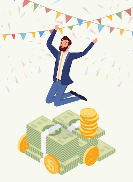 Успешный мужчина-миллионер векторный персонаж Premium векторы