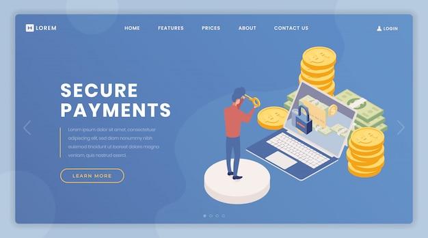 支払いセキュリティランディングページベクトルテンプレート Premiumベクター
