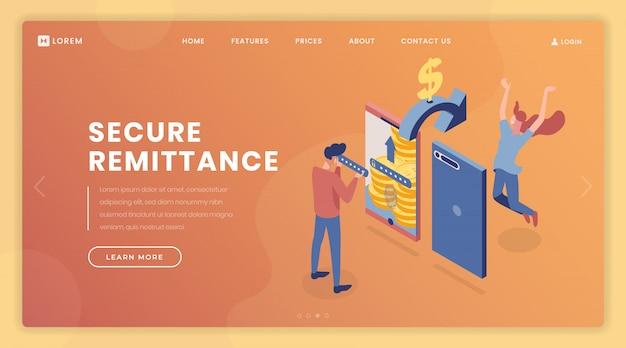 Шаблон векторной страницы безопасности денежного перевода Premium векторы