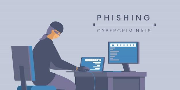 フィッシングサイバー犯罪者フラットバナーテンプレート。 Premiumベクター