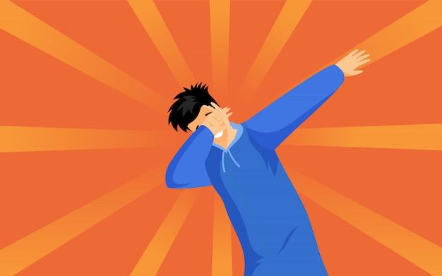 ヒップスター男フラット図を軽くたたきます。トレンディな軽打の兆候の漫画のキャラクターを示す青いパーカーの若い男。オレンジに分離されたダブダンスポーズで立っているスタイリッシュなティーンエイジャー Premiumベクター
