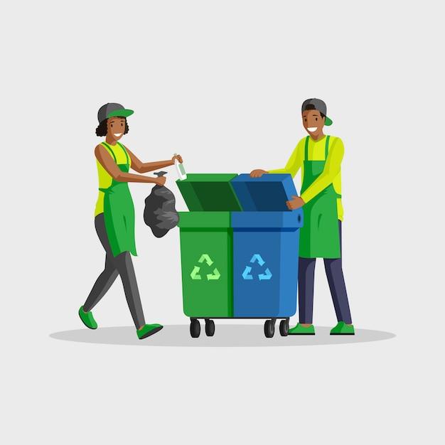 ゴミのフラットカラーイラストを取り出している人々。ゴミを分別し、ゴミ袋をゴミ箱に入れてリサイクルするボランティア。アフリカ系アメリカ人の男性と女性の孤立した漫画のキャラクターをクリーニング Premiumベクター