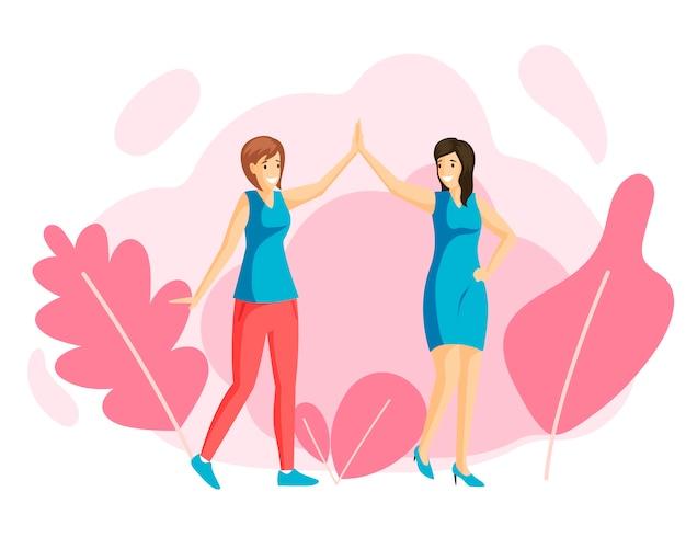 Усмехаясь маленькие девочки давая высокую пятерку, иллюстрацию друзей плоскую. дружба женщин, семейная прогулка, отдых, отдых вместе. подруги, держась за руки, счастливые сестры героев мультфильмов Premium векторы