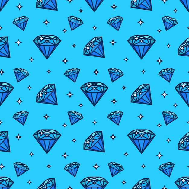 Вектор бесшовный образец с драгоценными камнями и алмазными символами. элемент текстуры и дизайна с плоской иконой Premium векторы
