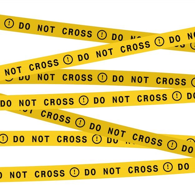 警察のラインはテープを横切らないでください。ベクトルフラットスタイルのデザインイラスト。 Premiumベクター