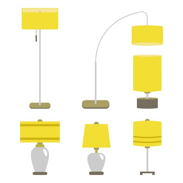 Набор ламп. свет лампы иллюстрации вектора изолировал электрическую мебель внутренней энергии. Premium векторы
