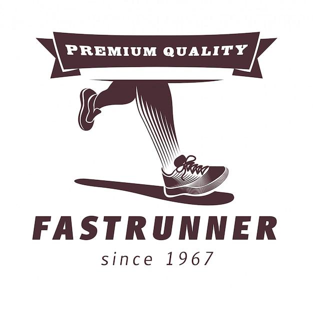 スポーツシューズのロゴデザインのランニングレッグ Premiumベクター