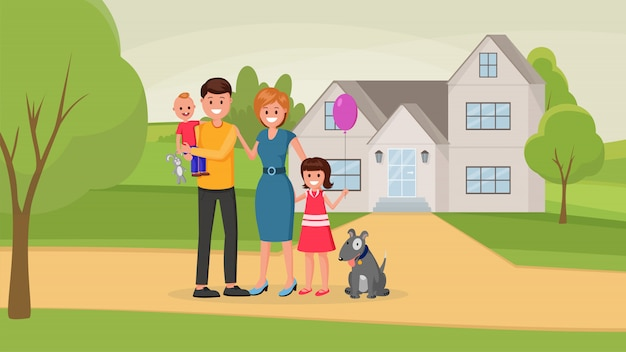 家の近くに犬連れのご家族 Premiumベクター